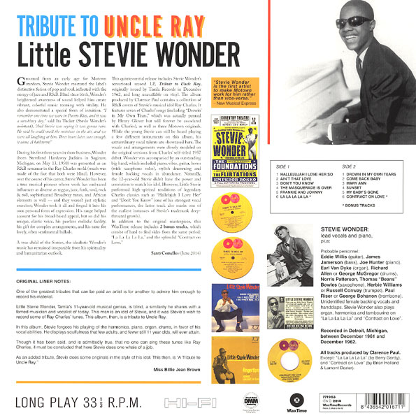 Disco de Vinil Stevie Wonder - Tribute To Uncle Ray